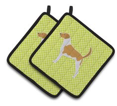 American Foxhound Checkerboard Green Pair of Pot Holders BB3798PTHD