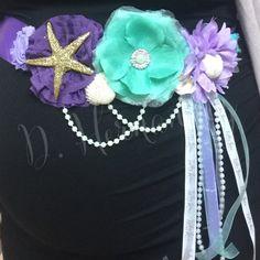 Under the sea themed maternity sash. Baby. Mint, purple & lavender. Pearls, sea shells & star fish.