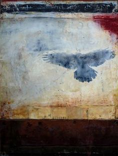 Choices is an encaustic mixed media painting. The artist is Bridgette Guerzon Mills.
