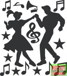Painel Decorativo Grande Adesivo Festa Retrô Anos 60 70 e 80, Cantor, Casal Dançando, Dançarina e Dançarino Black - 50x70 Escolha o Modelo  - foto 3