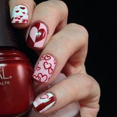 Valentine's Day Nail Art designs for 2015 is especially for those who are planning to do something different on this Valentines Day. Nail art - Page 7 Fancy Nails, Love Nails, Red Nails, Pretty Nails, Hair And Nails, Style Nails, Seasonal Nails, Holiday Nails, Nail Art Designs