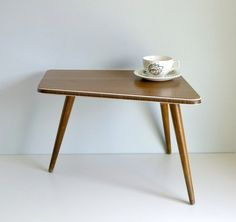 Mid Century Modern Tripod Coffee Table - Atomic Era Side Table, Night Stand - Germany - Mad Men, 1960s Furniture, Home Decor. €60.00, via Etsy.