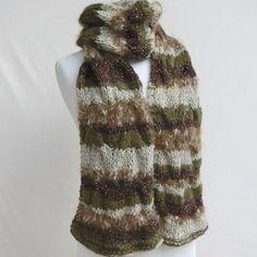Écharpe, longue, femme, tricot, torsades, en laine, kaki marron beige,  tricoté main, accessoire, hiver, cadeau 13582ff22fd