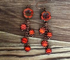 Czech Picasso Bead Flowers and Copper Earrings, dangly earrings, boho earrings, bohemian earrings, hippie earrings, boho, bohemian, hippie