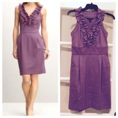 Banana Republic Brigitte plum shift dress Preloved but still with much life left!  Double knit shift dress with ruffle along neckline and front.  Has a hint of stretch.  Did I mention pockets?!  Can wear alone or layer with a cardigan.  Mild pilling. Banana Republic Dresses