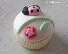 Single Pink Ladybug and Flower Cupcake