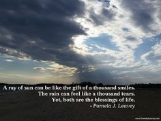 A ray of sun can be like the gift of a thousand smiles. The rain can feel like a thousand tears. Yet, both are the blessings of life. – Pamela J. Leavey