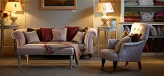 Tailor your home to your own personal taste with our bespoke furniture made with your choice of fabrics from our full fabric collection. Susie features our Chesterfield Sofa, Footstool and Armchair in our shalini, linen and ivory stripe fabrics.