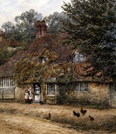 The Old Fish Shop, Haslemere Art Print by Helen Allingham - WorldGallery.co.uk