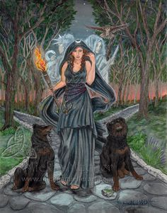 Hecate, Greek goddess associated with magic, crossroads, witchcraft and necromancy Wiccan, Magick, Witchcraft, Hecate Goddess, Greek Goddess Art, Symbole Viking, Triple Goddess, Gods And Goddesses, Book Of Shadows
