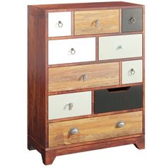 Love this colourful chest of drawers with 10 different sized drawers to fill with treasure! Furniture Wax, Quality Furniture, Furniture Ideas, Cherry Wood Stain, House Arrest, Whitewash, Duck Egg Blue, Storage Solutions