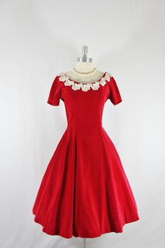 1950's Vintage Dress - Red Velvet Short Sleeve Full Skirt Party Frock.