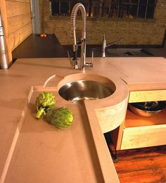I love the trough style section for cutting veggies, putting dishes, etc. nifty! Concrete Countertops Pourfolio Custom Concrete San Diego, CA