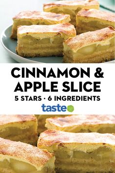 Apple & cinnamon slice Use a clever shortcut to create these baked golden slices filled with warm apple, sour cream and cinnamon. Apple Dessert Recipes, Apple Recipes, Sweet Recipes, Baking Recipes, Dinner Recipes, Cinnamon Recipes, Apple Cinnamon, Australian Food, Australian Desserts