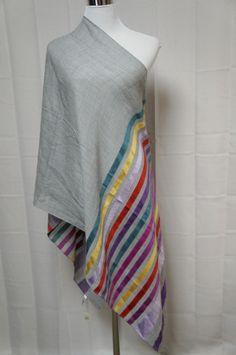 """Talbots New Wrap Scarf wool Silk Gray purple gold red Large Shawl 72"""" by 26""""  #Talbots #ShawlWrap"""