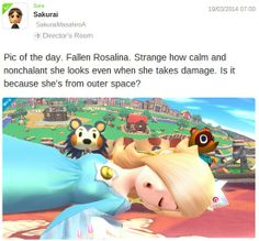 #Rosalina after taking a beating in #SuperSmashBros for #WiiU  This weeks newest shots @ http://www.superluigibros.com/peanut-popguns-the-fall-of-rosalina