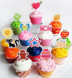 A large set of printable seasonal #cupcake toppers and matching wrappers