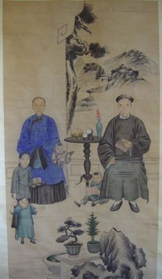 CHINESE ANSESTOR SCROLLS | 69: 19thc Chinese Ancestor Scroll Painting of a Family : Lot 69