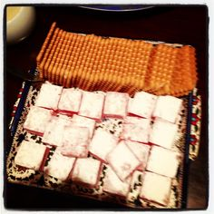 Nice idea for Ramadan sweets ( biscuits with ra7a( similar to Turkish delights but plain and big size ) famous in Jordan