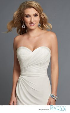Modern Maids Style M1841 • Strapless chiffon bridesmaid gown with fit and flare silhouette, sweetheart neck line, pleated wrap bodice, and belt.