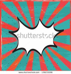Vintage boom over red and blue old lines background vector illustration - stock vector