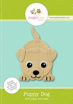 Puppy dog applique pattern. Cute puppy applique template. PDF download.