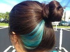 Image result for dark brown hair with blue highlights