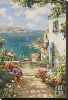 Citta del Mare Stretched Canvas Print by Paline at eu.art.com