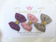 Baby Hair Bow Trio Set, Little Girls Mini Hair Bow, Baby Holiday Bows, Princess Bow Set, Purple/ Pink/Gold Hair Bows, No Slip Clippies by BowtiquebyprincessT on Etsy