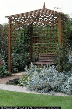 : Wooden trellis arbour