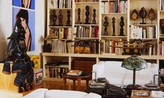 Living room of Arman's home, New York. Photo: Jerry L. Thompson. Arman would eventually collect in more than a dozen different categories, including African masks and sculptures, Japanese armour, European pistols, radios, jukeboxes, watches, Tiffany lamps, cars and contemporary art. -Barbican's exhibition Magnificent Obsessions: The Artist as Collector-