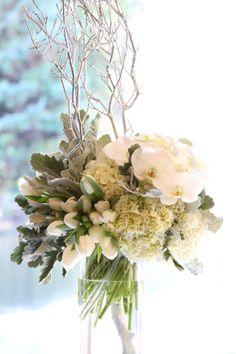 Liz Rusnac Floral Design, white centerpiece, silver mercury glass, patience garden roses, garden roses, white hydrangea, white hydrangea cen...