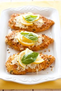 Lemon Chicken Romano | Cooking Recipe Central.  Made this for dinner tonight.  Good one.  Next time I probably won't bother with the oven step.  Will just fry long enough to cook through and the throw on the mozz/prov and put it under the broiler for a few minutes.