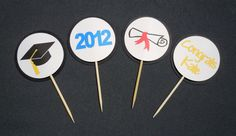 Custom Graduation Cupcake Toppers- Choose Your Colors by HookedonArtsNCrafts on Etsy