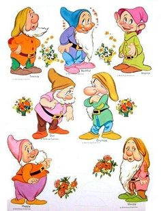 Snow White & The 7 Dwarfs - (CL for 11 dolls & clothes) 7 Dwarfs, Seven Dwarfs, Disney Dwarfs, Disney Crafts, Disney Art, Paper Toys, Paper Crafts, Adult Coloring, Coloring Pages