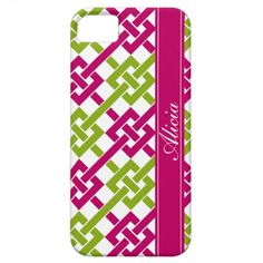 Fuchsia and Lime Garden Lattice Print iPhone 5 Case #monogram #customize #personalize #gift #iPhone5 #zazzle