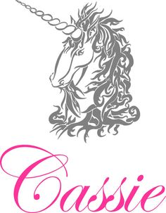 Unicorn with Name Vinyl Wall Decal Lettering by landbgraphics, $26.99