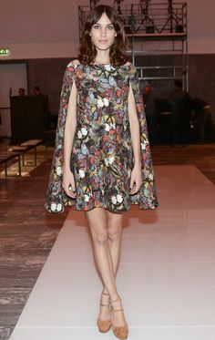 Alexa Chung in a butterfly print Valentino cape dress