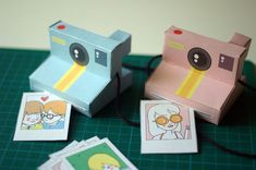 These paper polaroid cameras are cute, but I'd like to try making one out of glued-together wood blocks for Savvy!