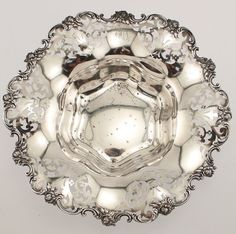 Sterling Silver Large Pierced Centerpiece Bowl Shreve Co #antiquesilverbowl