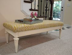 Coffee table turned into a bench: The Shabby Nest: July 2012