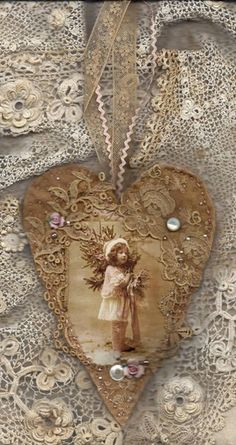 Edwardian Winter Girl in Pink Vintage Lace Heart Collage Ornament