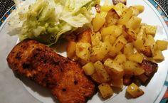Lachsfilet | Ofenkartoffeln | Eisbergsalat | italienische Kräuter | Olivenöl | Balsamicoessig | Senf | Honig | Pfeffer | Meersalz