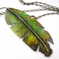 Banana Leaf Necklace - Prismacolor on Copper. $42.00, via Etsy.