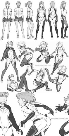 Female Poses - School Uniform - Fighting Uniform - Character Design and Drawing . - Female Poses – School Uniform – Fighting Uniform – Character Design and Drawing Reference - Character Design Cartoon, Character Design References, Character Design Inspiration, Comic Character, Character Poses, Character Drawing, Character Concept, Fantasy Character, Character Reference