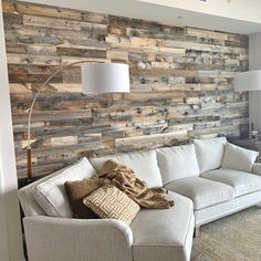 Elegant Diy Reclaimed Wood Accent Design Ideas For Wall That You Need To Try Accent Walls In Living Room, Home Living Room, Living Room Decor, Stone Wall Living Room, Bedroom Decor, Plank Walls, Wood Panel Walls, Wood On Walls, Pallet Walls