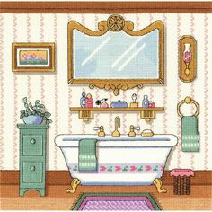 """Victorian Bath Counted Cross Stitch Kit-10""""X10"""" 14 Count"""