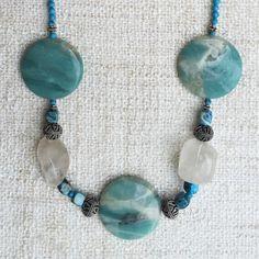 Adrienne Necklace - Turquoise & Sterling Silver Boho Chic Statement Gemstone Handmade Designer Jewelry - Amazonite, Turquoise, Quartz, Agate by StudioHPontvianne on Etsy