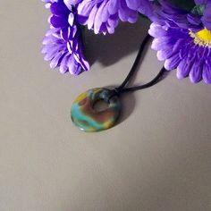 Colorful Agate green turquoise yellow teal pendant by HappyLilac