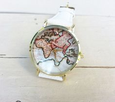 Fashion vintage retro world map watches women wristwatch leather vintage world map watch gumiabroncs Choice Image